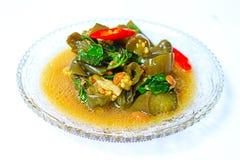 Thais voedsel: Gebraden aubergine met vergiste sojaboon Royalty-vrije Stock Afbeelding