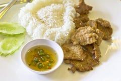 Thais voedsel, gebraden varkensvlees Royalty-vrije Stock Foto