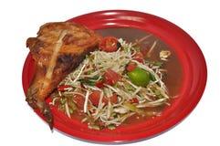 Thais voedsel: Geroosterde papajasalade en kip royalty-vrije stock afbeelding