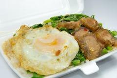 Thais voedsel - Kana Moo Grob (Ingepakte lunch) Royalty-vrije Stock Foto's