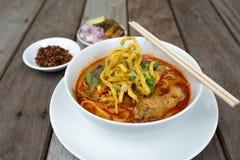 Thais voedsel, Kao Soi Kai Royalty-vrije Stock Foto's