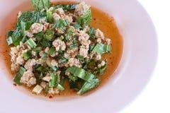 Thais voedsel; Laboratorium-Moo; Gehakte varkensvleesmengeling met Thaise kruidige kerrie Stock Afbeeldingen