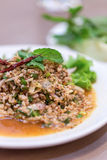 Thais voedsel, Larb-moo, Varkensvlees Gekookte Thaise Stijl royalty-vrije stock fotografie