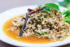 Thais voedsel, Larb-moo, Varkensvlees Gekookte Thaise Stijl Stock Afbeelding