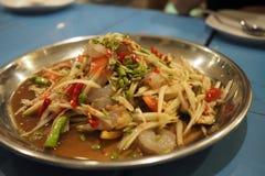 Thais voedsel: papajasalade stock afbeelding