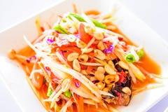 Thais voedsel - papajasalade met gemengde droge garnalen Stock Foto's