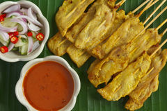 Thais voedsel, Varkensvlees Satay Stock Fotografie