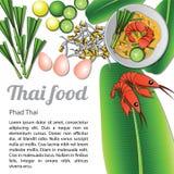 Thais Voedselmenu Phad Thai vector illustratie