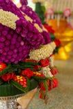 Thaise aanbiedende schotel met banaanblad en bloemkegel Royalty-vrije Stock Foto