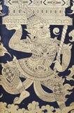 Thaise Acient Art Painting op de Foto van de Kerkdeur in Thailand Royalty-vrije Stock Afbeeldingen