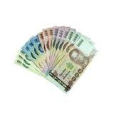 Thaise bankbiljetten op een witte achtergrond Stock Afbeelding