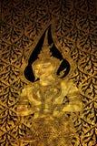 Thaise beeldende kunsten die op de tempeldeur schilderen Royalty-vrije Stock Fotografie