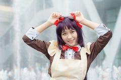 Thaise cosplayers kleden zich als karakters van beeldverhaal en spel in festa van Japan in Bangkok Stock Afbeeldingen