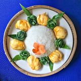 Thaise dessert zoete kleverige rijst met kokosmelk royalty-vrije stock afbeeldingen