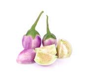 Thaise die aubergine op witte achtergrond wordt geïsoleerd Stock Foto's