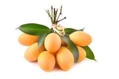 Thaise die fruit van de close-up het zoete Marian pruim op witte backgroun wordt geïsoleerd stock afbeelding