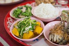 Thaise die schotelscursus met rijst wordt gegeten Stock Foto's