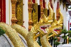 Thaise draak of koning van standbeeld Naga Royalty-vrije Stock Afbeelding