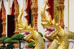 Thaise draak of koning van standbeeld Naga Stock Foto's