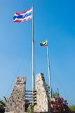 Thaise en Myanmar vlag. Stock Foto