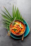 THAISE GARNALEN RODE KERRIE Soep van de de traditie rode kerrie van Thailand de Thaise met garnalengarnalen en kokosmelk Panaengk stock foto