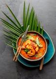 THAISE GARNALEN RODE KERRIE Soep van de de traditie rode kerrie van Thailand de Thaise met garnalengarnalen en kokosmelk Panaengk royalty-vrije stock foto's