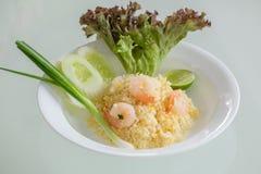 Thaise gebraden rijst met garnalen Royalty-vrije Stock Afbeelding