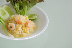 Thaise gebraden rijst met garnalen Stock Afbeeldingen