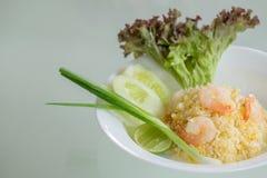 Thaise gebraden rijst met garnalen Stock Afbeelding