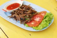 Thaise gebraden vissen met knoflook Stock Afbeelding