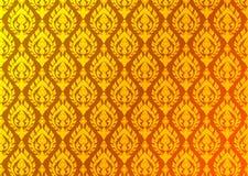 Thaise gouden uitstekende patroon vector abstracte achtergrond Stock Afbeelding