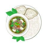 Thaise Groene Kerrie met Rijstvermicelli en Gekookte Rijst vector illustratie
