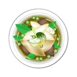 Thaise Groene Kerrie met Vissenballen en Groene Aubergine vector illustratie
