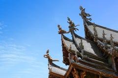 Thaise Houten Tempel in Pattaya Royalty-vrije Stock Afbeeldingen