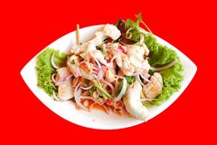 Thaise kruidige en zure zeevruchtensalade Royalty-vrije Stock Fotografie