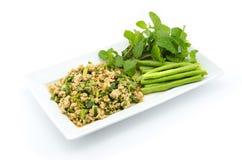 Thaise Kruidige fijngehakte kippensalade Royalty-vrije Stock Foto
