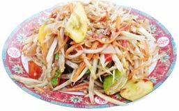 Thaise kruidige papajasalade met gezouten krab Royalty-vrije Stock Fotografie