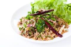 Thaise kruidige salade met fijngehakt en varkensvlees, Thais voedsel stock fotografie