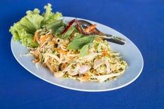 Thaise kruidige salade met garnaal Royalty-vrije Stock Foto's