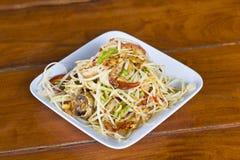Thaise kruidige Som Tam met gezouten krab Royalty-vrije Stock Fotografie