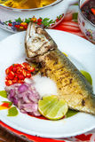 Thaise kruidige zeevruchtennoedel Stock Foto's