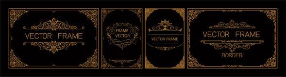 Thaise Kunst, Gouden grenskader met de lijn van Thailand bloemen voor beeld, Vector het patroonstijl van de ontwerpdecoratie het  stock illustratie