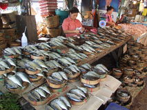 Thaise markt, Bangkok. Stock Foto's