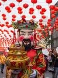 Thaise mensen en toeristen tijdens de viering van Chinees Nieuwjaar in Yaowarat-straat, Chinatown Bangkok, Thailand Stock Afbeeldingen