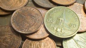 Thaise muntstukken, 50 en 25 Satang0 5 en 0 Baht 25 Royalty-vrije Stock Foto's