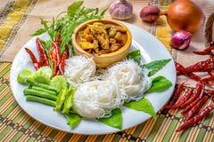 Thaise Noedel met Tuna Curry royalty-vrije stock foto's