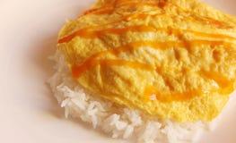 Thaise omelet met rijst Royalty-vrije Stock Fotografie