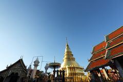 Thaise pagode in Lamphun Thailand royalty-vrije stock foto's