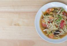 Thaise papajasalade (Som Tum) Stock Foto