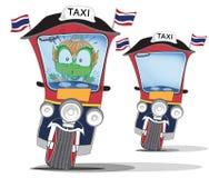 Thaise reus aan verward op het karakter van het taxibeeldverhaal leuk acterenontwerp stock illustratie
